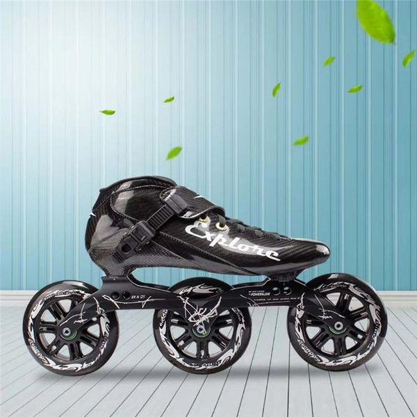 3X125mm scarpe pattinaggio di velocità su strada uomo donna adulti velocità maratona di pattinaggio corsa 3-ruote in fibra di carbonio quotidiano sportivo patines rulli