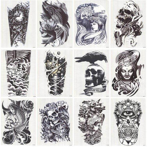 Flash Tattoo 12 Blatt wasserdicht 3D Arm Ärmel Make-up temporäre Tattoos Aufkleber Männer Frauen Flash Tatoos Body Arts Badeanzug Makeup Tools