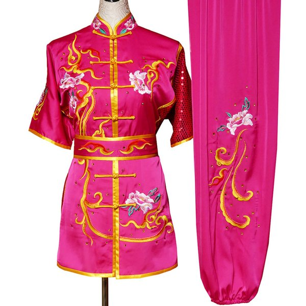 top popular Chinese wushu uniform Kungfu garment Martial arts suit taolu outfit Embroidered Routine clothes for men women children boy girl kids adults 2020