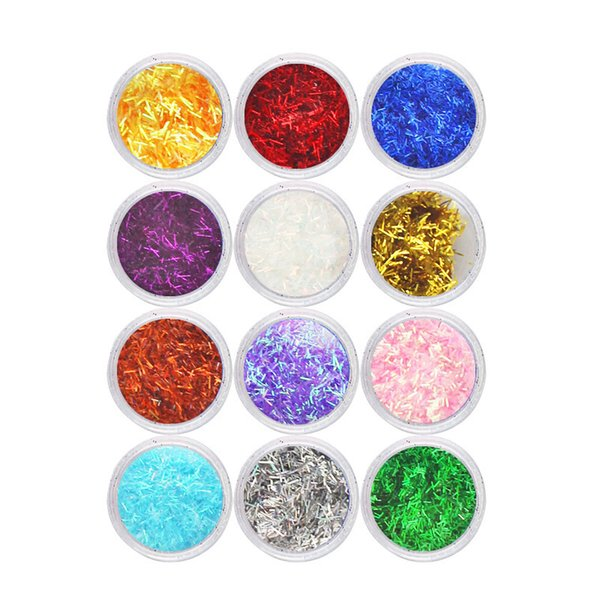 best selling 12 18 24Pcs Laser Nail Art Glitter powder TINSEL THREADS Lace dust Silk Mix Strips Confetti Holographic Sequins for Decoration