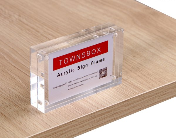 Acrylic Block Strong Magnetic Label Frame Desk Sign Holder Crystal Photo Frame Price Tag Display Desk Menu Name Card Cover Rack
