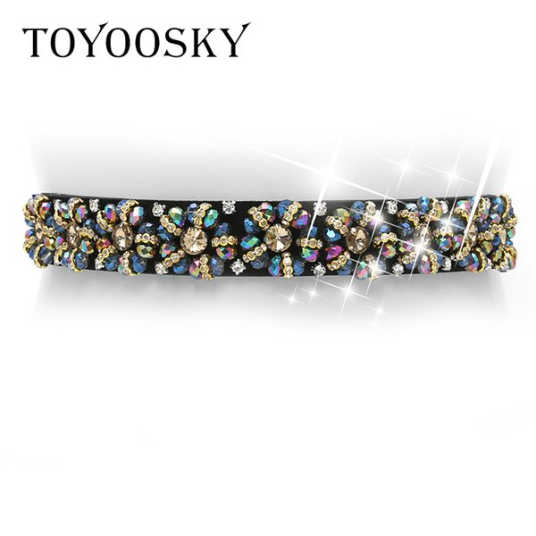 2018 New Arrival Designer Luxury Crystal Elastic Women Wide Belt With Rhinestone Elegant Belts For Women High Quality Toyoosky Y19070503