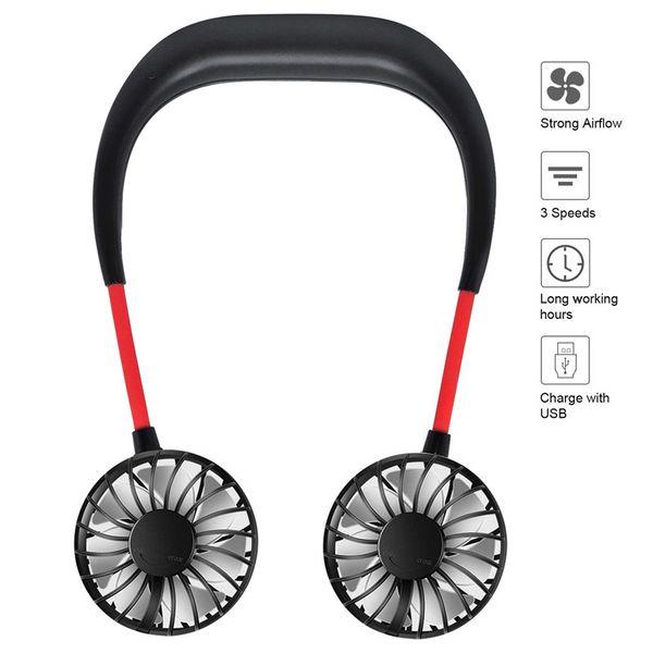 2019 Portable USB ricaricabile Neckband Lazy Neck Hanging Dual Cooling Mini Fan sport Ventilatore a collo pendente rotante a 360 gradi