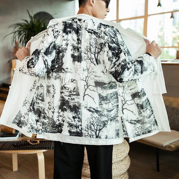 2019 Spring Trench Coats Men Landscape Figure Fake Two Piece Loose Vintage Full Length Sleeve Chinese Style Casual Male