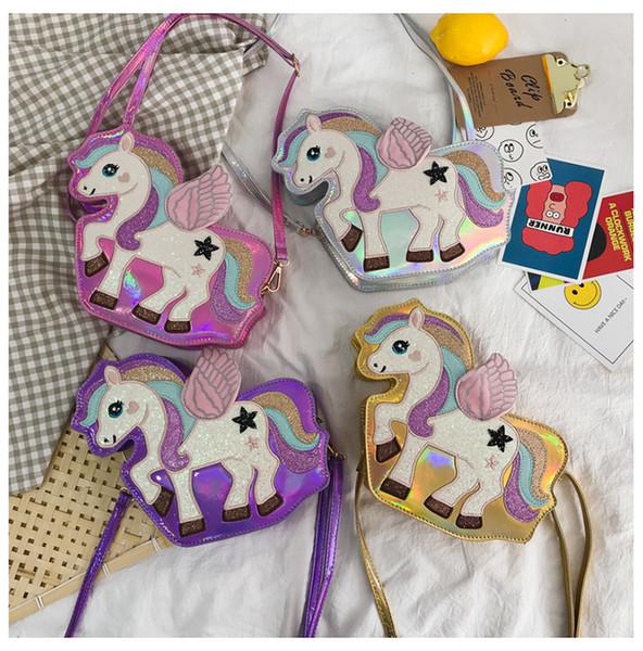 4 stilleri Unicorn lazer giltter çanta karikatür Crossbody Çanta Moda Kadın Çantası Kadın Omuz Çantası Lady kız çocuklar hediye FFA2537