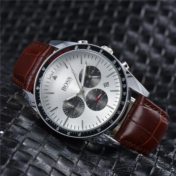 Tous cadran travail Hommes Date de Montre en acier Quartz Montres-bracelets qualité montre en cuir sport Montre de Luxe Top Relogies pour les hommes Relojes meilleure horloge cadeau