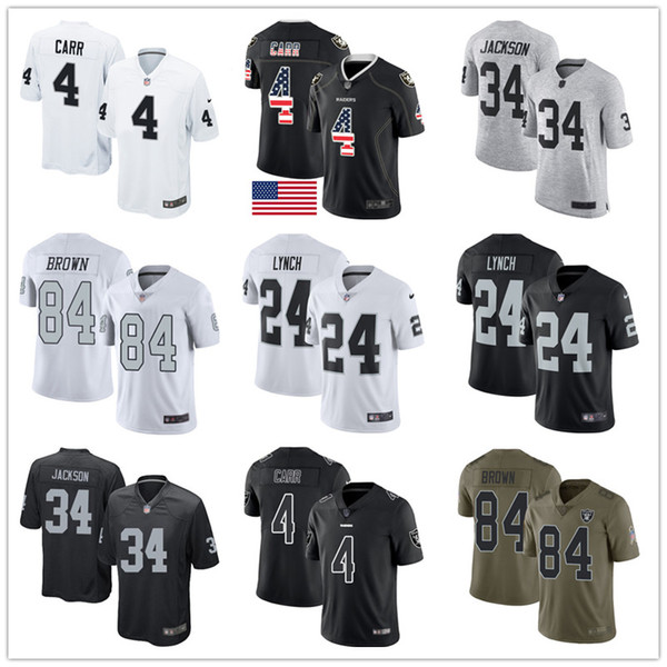 huge discount 1084f 8f160 2019 Oakland Custom Raiders Jerseys Bo Jackson Derek Carr Marshawn Lynch  Antonio Brown Rush Vapor Salute To Service Men Football Jersey From ...