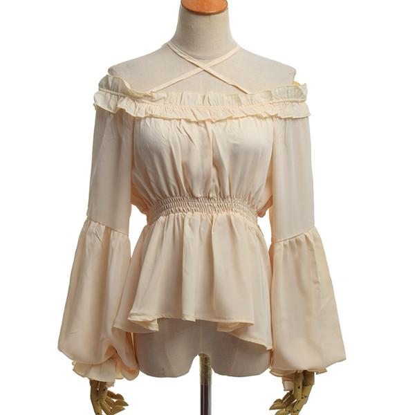 d1de780cc0d Vintage Lolita Blouse High Waist Long Sleeve Boat Neck Flounce Chiffon  Shirt Vintage Lolita Blouse High Waist Long Sleeve Boat Neck Flounce