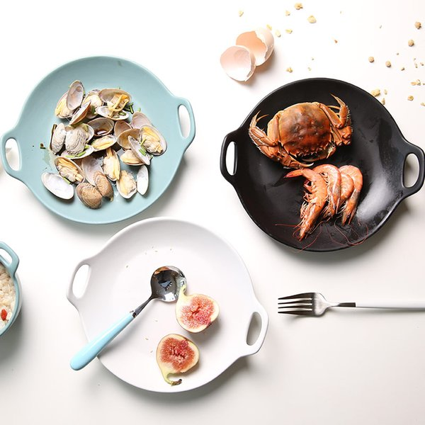 ableware Serving 1 PC European Style Dinner Plates Matte Glazed Ceramic Round Dishes with Double Handles Steak Pasta Dessert Plates 3 Co...