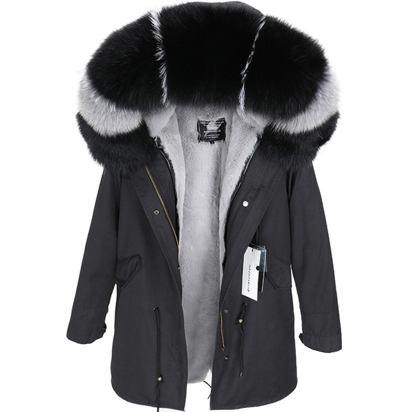 maomaokong New in 2018 Natural  real fur collar Coat female winter jacket coat thick lining Ukraine