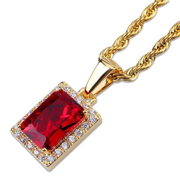 Men Women Hip Hop Gem Necklaces Hot Fashion Red Gem Pendant Necklaces Unisex Luxury 18K Gold Plated Chains Jesus Charms Necklace Lover Gift