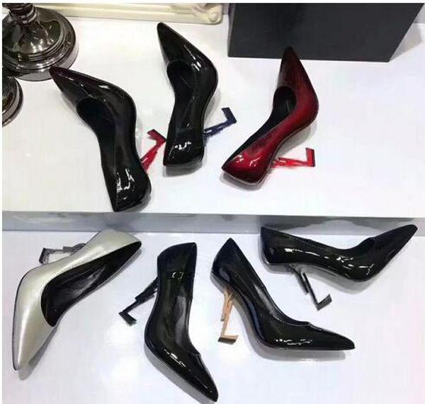 Lüks Kadın Renkli Topuklu Pompalar Patent Deri Elbise Düğün Ayakkabı Kırmızı Siyah Bayanlar Yüksek topuklu Sandalet Ayak Bileği Kayışı Pompaları