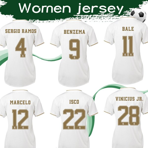 Women #7 HAZARD Real Madrid Soccer Jersey 2019 2020 Female Football Shirt #11 BALE #28 VINICIUS JR #16 JAMES Woman Sports Uniforms