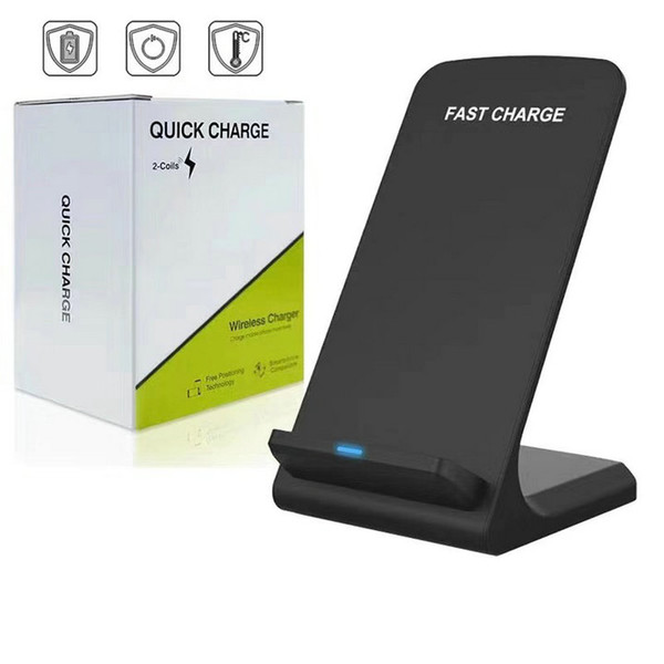 top popular 2 Coils 10W Wireless Charger Fast Qi Wireless Charging Stand Pad for iPhone 11 Pro Max XS Samsung Note 10 S10 S9 all Qi-enabled Smartphones 2020