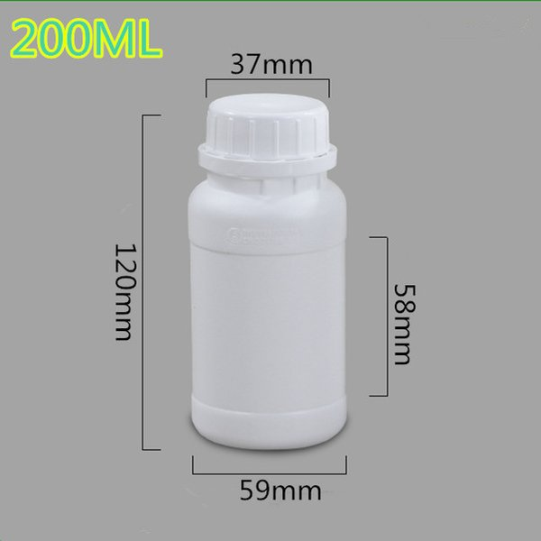 5PCS/set 200ML  Grade Thicken fluorinated bottle Round organic solvent sample bottles  packaging container