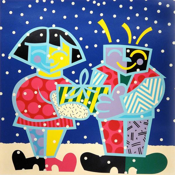 Romero Britto Karikatür Soyut Sanat En Iyi Arkadaşları, yağlıboya Üreme Yüksek Kalite Giclee Baskı Tuval Modern Ev Sanat Dekor