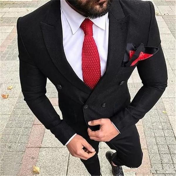Vente chaude de pointe Lapel mariage Smokings Costumes Slim Fit pour les hommes Costume Deux garçons d'honneur Pièces Cheap Prom costumes formels (veste + pantalon + cravate) 340