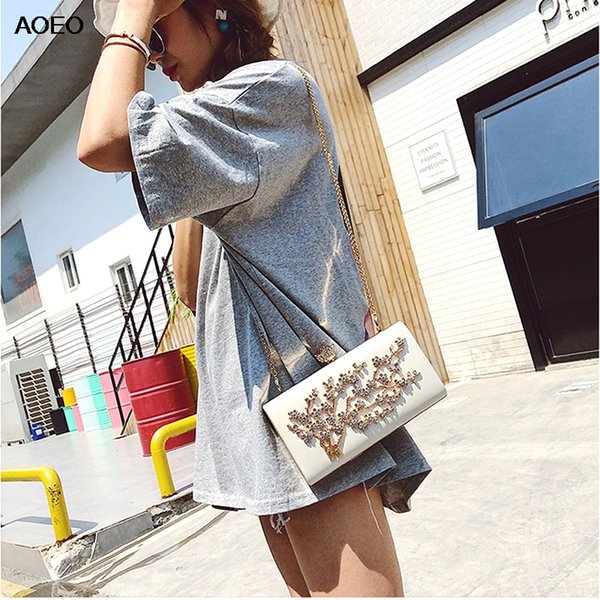 AOEO Luxury Handbags Women Bags Diamonds Tree Lock Shining Summer Chain Strap Lady Small Evening Bag Girl Shoulder Crossbody Bag