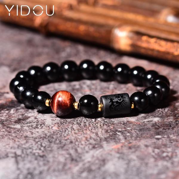 Moda Negro 10 mm 8 mm Pulsera de piedra natural de Obsidiana geométrico de lujo para hombre Crystal Braslets para los hombres de mano accesorios de joyería