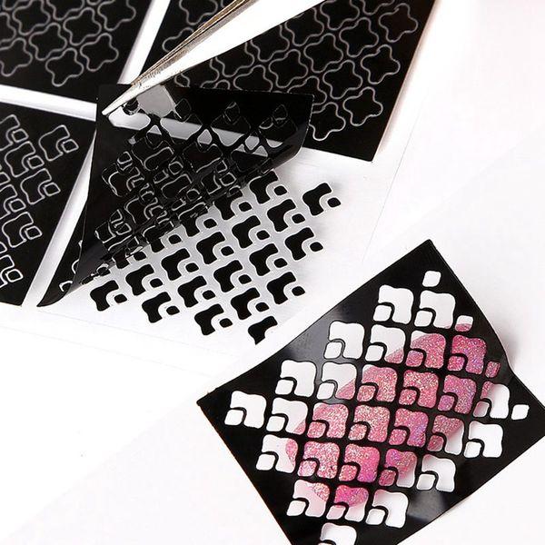 Hot 24 stücke Design Schwarz Laser Hohl Nail art Sticker Decals Dekoration DIY Polnischen Glitter UV Gel Acryl Nagelspitze