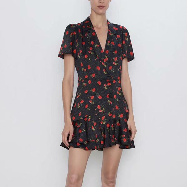 Yaz kadın tulum eğlence takım elbise yaka kısa kollu çiçek baskı şort tulum