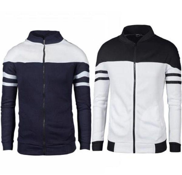 Lüks Erkek Giyim Şerit Baskı Ceket Artı Boyutu Sonbahar Fermuar Dikey Yaka Saf Pamuk Kontrast Renk Ceket Erkek Giyim