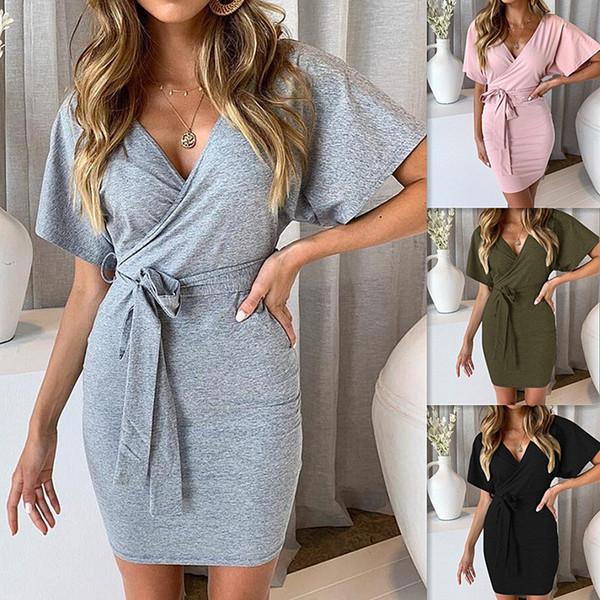 c561f90c9d Vestido de verano 2019 ropa casual de algodón para mujer manga corta con  cuello en V