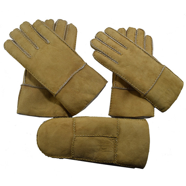 Wholesale retail sale sale of men and women's winter warm outdoor sheepskin and fur leather gloves
