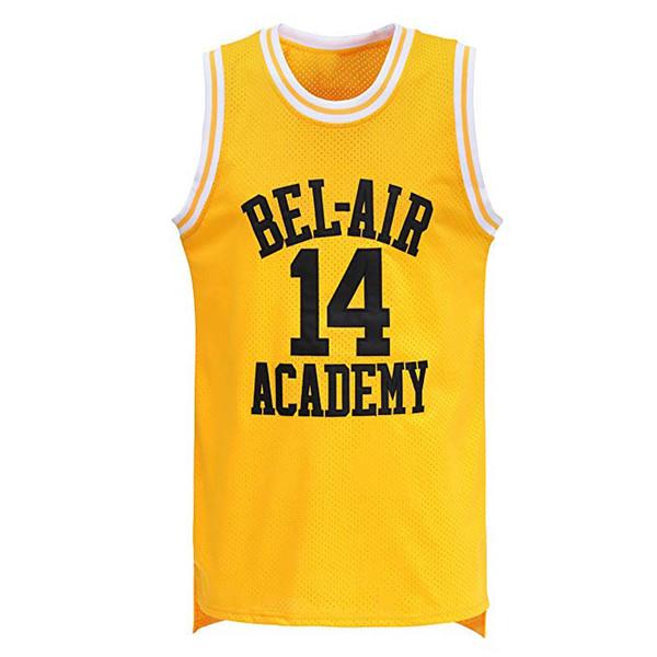 en gros 14 WILL SMITH Maillots The Fresh Prince 25 Maillot Carlton Banks Maillots de Basketball 100% Surpiqués Revers Jaune Haute Qualité 4