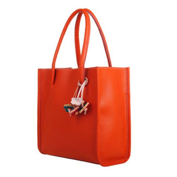Fashion Girls Handbags Trendy Leather Shoulder Bag Candy Color Flowers Totes Orange
