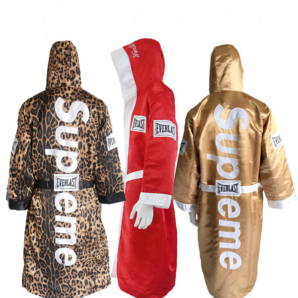 best selling clone Gold boxing robes for man and women soft boxing cloak kick dry robe clothing uniforms good quality Leopard Print Boxing bear suit