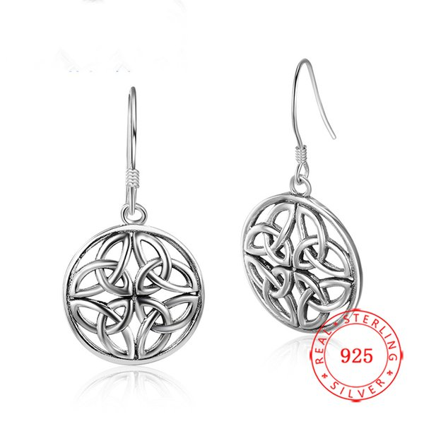 rael sterling silver retro personality hollow out circle punk fan earrings wholesale 925 marcasite ladies fashion creative female jewelry