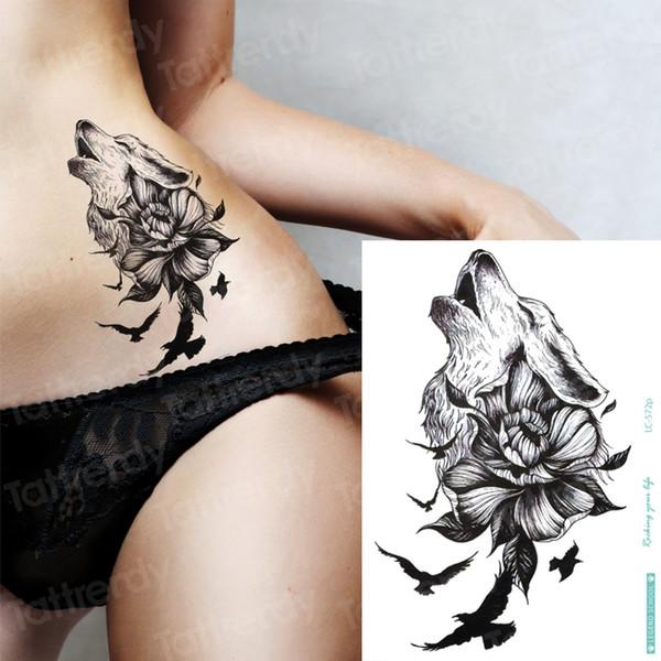 tatouage temporaire loup oiseaux noirs animaux loup tatouage conceptions grand tatouage faux autocollants temporaires bikini sexy décalque filles plage