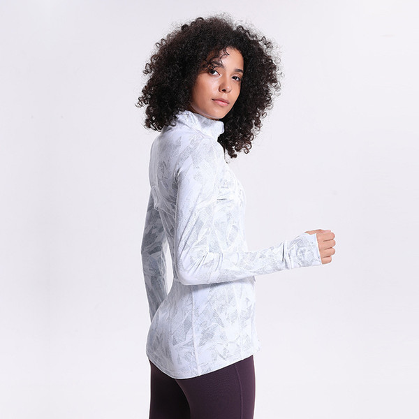 best selling LU-46 Print Women Yoga Jacket Elastic Long Sleeve Gym Sports Coat Fitness Running Clothes Sexy Slim atheltics clothing