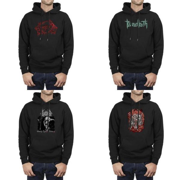 Men Design Printing Bloodbath Resurrection black Pullover Sweatshirt Personalised Crazy thin Hoodie Grand Morbid Funeral Nightmares Made