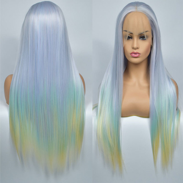 Light Blue Ombre Green To Yellow Straight Half Hand Tied Synthetic Lace Front Wig Heat Resistant Fiber Hair For Women