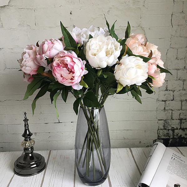 Yeni Yıl Yapay Ipek + plastik Şakayık Çiçek Şube Ile Yaprakları Flores Kapalı Ev Dekor Için Flores Şakayık Diy Düğün süslemeleri
