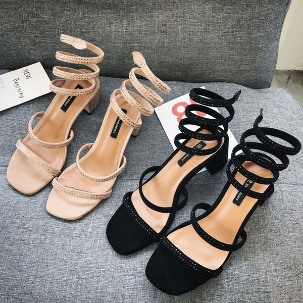New Roman Bohemian Style Retro High-heeled Shoes Snake-shaped Wrapped Water Diamond Sandals Female Summer Middle-heeled Rough-heeled