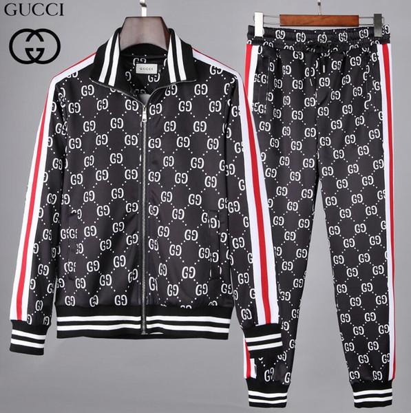 Suits Casual fato de treino Jogger 2019 New verão de algodão de seda Moda Lapel Collar T-shirt de manga curta calças compridas homens Fatos Tamanho M-XL21
