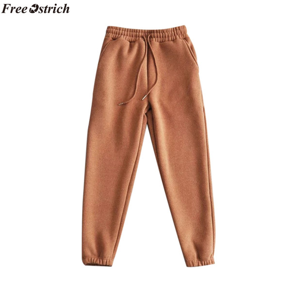 FREE OSTRICH 2019 ladies casual comfort pants solid color cloth cashmere Harlan sports tight sweater exercise fitness trousers