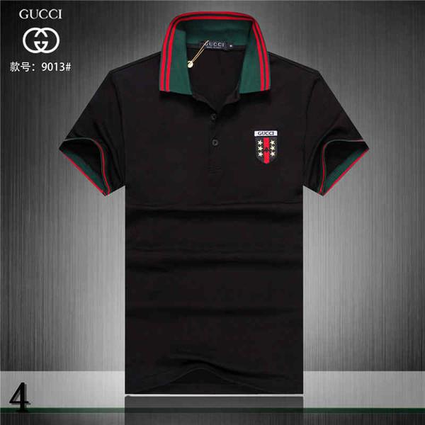 Hommes Polo d'été pour les hommes lâches Polos G Lettres et d'un insigne de broderie courts Vêtements homme style décontracté Polo Taille M-3XL # 4