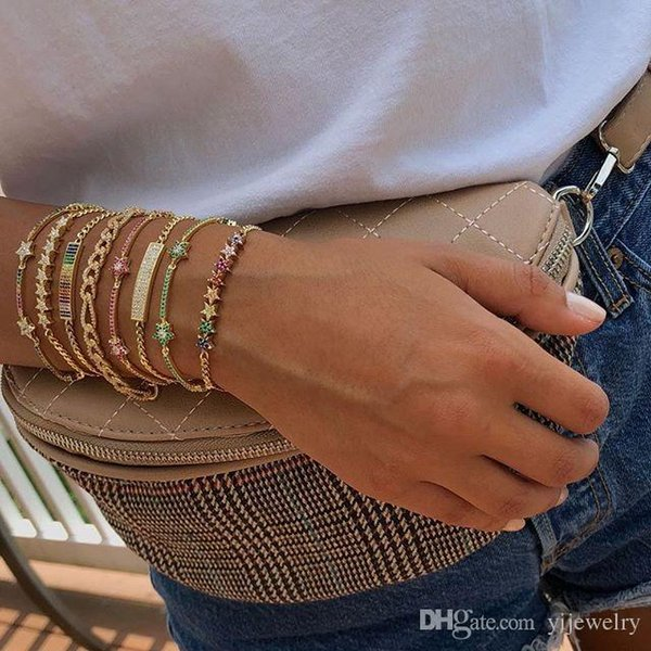 cz star design for 2018 christmas cuban link chain gold plated women latest new design colorful star charm bracelet