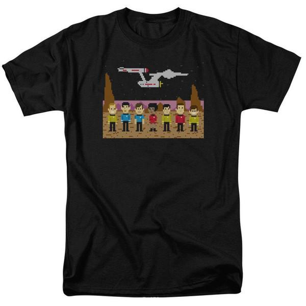 Star Trek Trexel 8 Bit camicia licenza per adulti T maglietta degli uomini cotone manica corta nero Hip Hop T-Shirt Stampa Tee Shirts