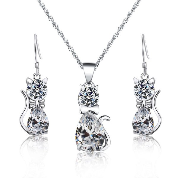 SHUANGR Wedding Jewelry Sets CZ Crystal Animal Cat Pendant Earrings Necklace for women Lovely Rhinestone Jewelry Gift Bijoux
