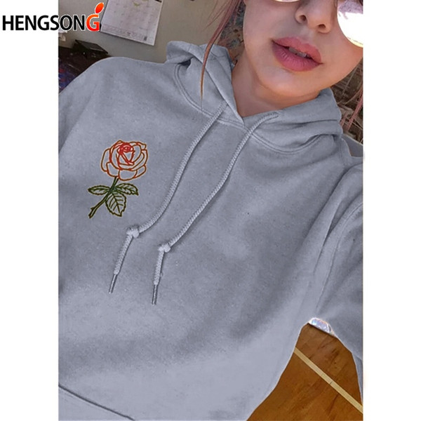 Women Embroidery Floral Sweatshirt Casual Long Sleeve Pullovers O Neck Jogging Hooded Hoodies Free Shipping