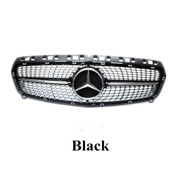 top popular Black & Silver Diamond Style Front Mesh Grill Grilles For A CLASS W176 ABS Replacement Car Grille 2021