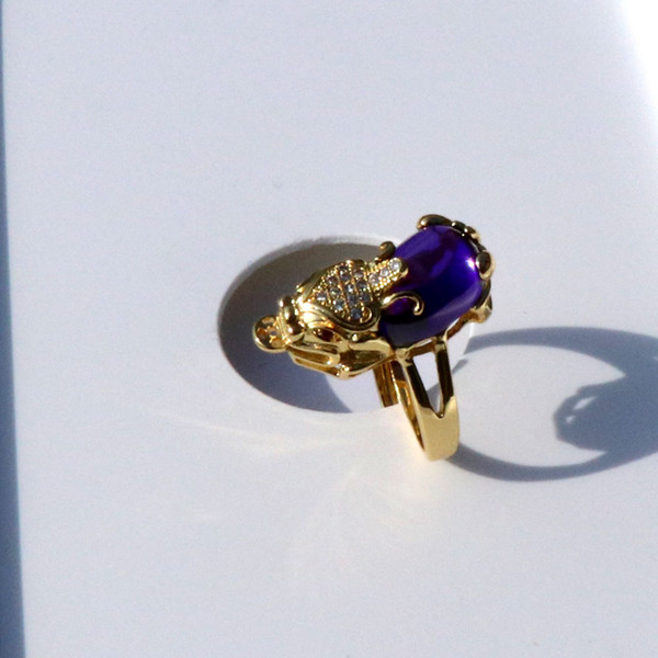 Мужская женская Античная 18 К Твердое Золото GF 3D Удача Богатство Pixiu Фиолетовый Оникс Маленький Бриллиант CZ Глаза Филигранное Кольцо Размер Открыть