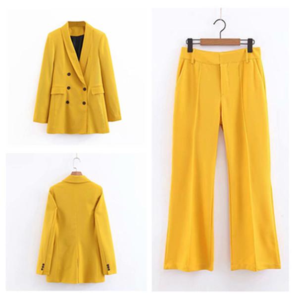 Damenanzug 2-teiliges Set (Jacke + Hose) Gelbe Damen-Zweireiherjacke mit Hose für Damen Business Casual Anzüge