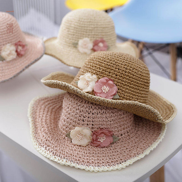 Crianças Chapéus de Verão Flor crianças chapéus doce meninas praia chapéu meninas Bucket Hat crianças Chapéu de Palha Crianças Caps acessórios designer A6547