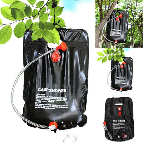 Bolsa de baño al aire libre Camping Solar Kit de agua caliente Bolsa portátil 20L 420g Agua Negro Almacenamiento